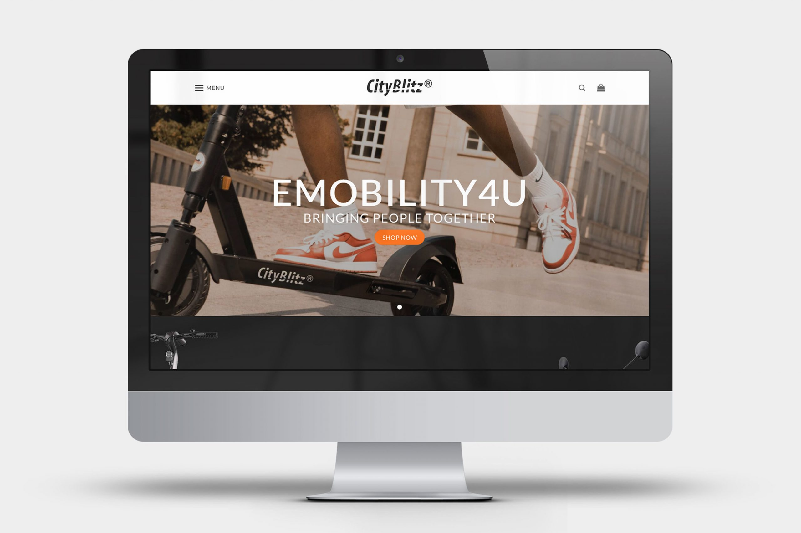 CityBlitz Electric Scooter eCommerce Website when viewed on a desktop